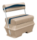 Premier Pontoon 50 Quart Cooler Flip-Flop Seat, Mocha-Mocha Java Punch-Midnight-Rock Salt - Wise Boat Seats