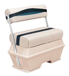 Premier Pontoon 50 Quart Cooler Flip-Flop Seat, Platinum-Platinum Punch-Navy-Cobalt - Wise Boat Seats
