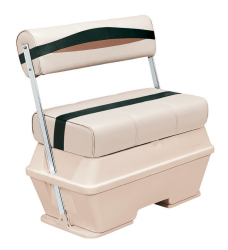 Premier Pontoon 50 Quart Cooler Flip-Flop Seat, Platinum-Platinum Punch-Jade-Fawn - Wise Boat Seats