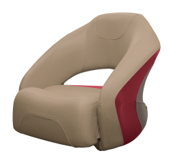 Premier Pontoon Bucket Seat with Flip-up Bolster, Mocha-Mocha Java Punch-Dark Red-Rock Salt - Wise Boat Seats