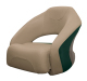Premier Pontoon Bucket Seat with Flip-up Bolster, Mocha-Mocha Java Punch-Evergreen-Rock Salt - Wise Boat Seats