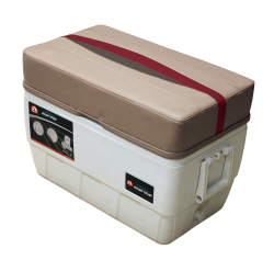 Premier Pontoon 48 Quart Igloo Cooler with Cushion, Mocha-Mocha Java Punch-Dark Red-Rock Salt - Wise Boat Seats