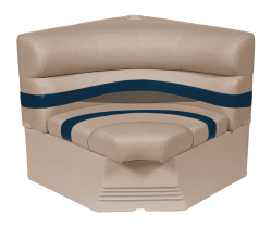 "Premier Pontoon 32"" Radius Corner Section Seat, Mocha-Mocha Java Punch-Midnight-Rock Salt - Wise Boat Seats"
