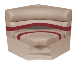 "Premier Pontoon 32"" Radius Corner Section Seat, Mocha-Mocha Java Punch-Dark Red-Rock Salt - Wise Boat Seats"