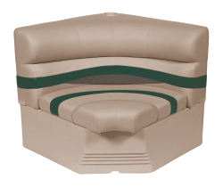 "Premier Pontoon 32"" Radius Corner Section Seat, Mocha-Mocha Java Punch-Evergreen-Rock Salt - Wise Boat Seats"