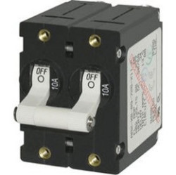 Circuit Breaker, 2-Pole, 50Amp, White Toggle - Blue Sea Systems