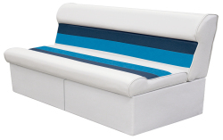 "Deluxe Pontoon 55"" Lounge Seat, White-Navy-Blue - Wise Boat Seats"