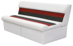 "Deluxe Pontoon 55"" Lounge Seat, White-Red-Charcoal - Wise Boat Seats"