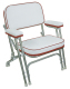 Folding Deck Chair with Aluminum Frame, White-Dark Red - Wise Boat Seats