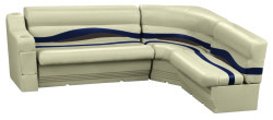 Premier Pontoon Standard Rear L Group, Mocha Java-Mocha Java Punch-Navy-Rock Salt - Wise Boat Seats