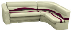 Premier Pontoon Standard Rear L Group, Mocha Java-Mocha Java Punch-Red-Rock Salt - Wise Boat Seats