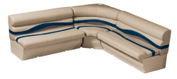 Premier Pontoon Large Rear L Group, Mocha Java-Mocha Java Punch-Navy-Rock Salt - Wise Boat Seats