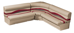 Premier Pontoon Large Rear L Group, Mocha Java-Mocha Java Punch-Red-Rock Salt - Wise Boat Seats