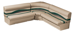 Premier Pontoon Large Rear L Group, Mocha Java-Mocha Java Punch-Green-Rock Salt - Wise Boat Seats