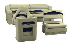 Premier Pontoon Traditional Rear Seat Group, Mocha Java-Mocha Java Punch-Navy-Rock Salt - Wise Boat Seats