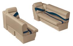"Premier Pontoon Front Lounge 50"" Group, Mocha Java-Mocha Java Punch-Navy-Rock Salt - Wise Boat Seats"