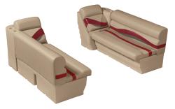 """Premier Pontoon Front Lounge 50"""" Group, Mocha Java-Mocha Java Punch-Red-Rock Salt - Wise Boat Seats"""