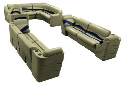Premier Pontoon Popular L Seating Group, Mocha Java-Mocha Java Punch-Navy-Rock Salt - Wise Boat Seats