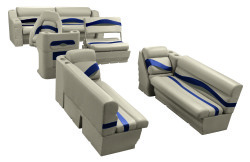 Premier Pontoon Traditional Seat Group, Mocha Java-Mocha Java Punch-Navy-Rock Salt - Wise Boat Seats