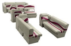 Premier Pontoon Traditional Seat Group, Mocha Java-Mocha Java Punch-Red-Rock Salt - Wise Boat Seats