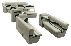 Premier Pontoon Traditional Seat Group, Mocha Java-Mocha Java Punch-Green-Rock Salt - Wise Boat Seats