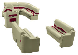 Premier Pontoon 8 ft with Boat Rear Entry Group, Mocha Java-Mocha Java Punch-Red-Rock Salt - Wise Boat Seats