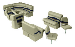 Premier Pontoon Angler 8 ft with Boat Rear Entry Group, Mocha Java-Mocha Java Punch-Navy-Rock Salt - Wise Boat Seats