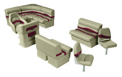 Premier Pontoon Angler 8 ft with Boat Rear Entry Group, Mocha Java-Mocha Java Punch-Red-Rock Salt - Wise Boat Seats