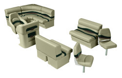 Premier Pontoon Angler 8 ft with Boat Rear Entry Group, Mocha Java-Mocha Java Punch-Green-Rock Salt - Wise Boat Seats