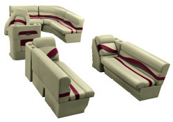 Premier Pontoon 8.5 ft with Boat Rear Entry Group, Mocha Java-Mocha Java Punch-Red-Rock Salt - Wise Boat Seats