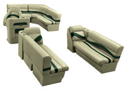 Premier Pontoon 8.5 ft with Boat Rear Entry Group, Mocha Java-Mocha Java Punch-Green-Rock Salt - Wise Boat Seats