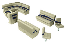 Premier Pontoon Angler 8.5 ft with Boat Rear Entry Group, Mocha Java-Mocha Java Punch-Navy-Rock Salt - Wise Boat Seats