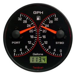 3FB016U2 Black/Black 0-16GPH I/B,I/O,OB, Up to 150HP TwinScan Fuel Meter - Floscan