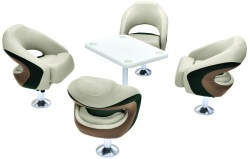 Wise Premier Pontoon Cocktail Seat Group: 4x Seats/Pedestals, 1x Table