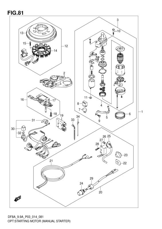 Opt:Starting Motor (Manual Starter) (Df8a P03)
