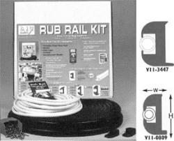 "1-1/16""x11/16""x50' Black Flexible Vinyl Rub Rail Kit, Black Insert - Taco"