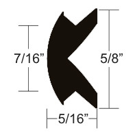 "5/8"" x 5/16"" Black Flexible Vinyl Rub Rail Insert 50' - Taco"