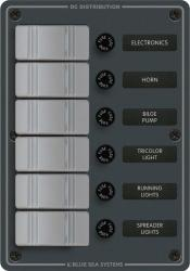 Switch Panel, 6-Gang, Vertical, Gray - Blue Sea Systems
