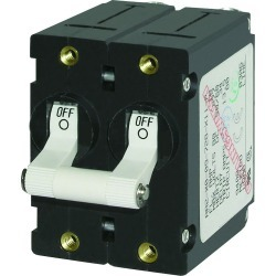 7233 A-Series AC Circuit Breaker Double Pole Toggle, 10A, White - Blue Sea Systems