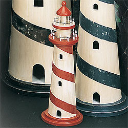 Wooden Lighthouse Model, Black, 15