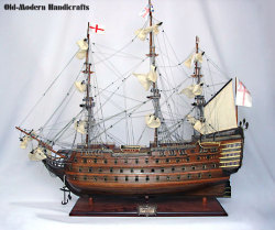 HMS Victory 1765 Model Ship Small Painted - Old Modern Handicrafts