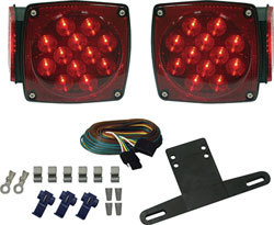 LED Square Submersible Boat Trailer Tail Light Kit - Seasense
