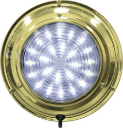 "LED Titanium Nitrade Dome Boat Light, 6-3/4"", White 24 LED - Seasense"