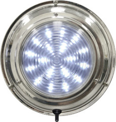 "LED Stainless Steel Boat Dome Light, 5-1/2"", Cool White 18 LED - Seasense"