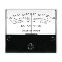 "8253 DC Zero Center Analog Ammeter, 2-3/4"" Face, 100-0-100 Amperes DC - Blue Sea Systems"