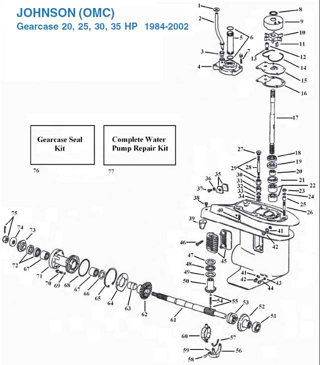 Johnson 20, 25, 30, 35 HP Gearcase (1984-2002) Exploded View