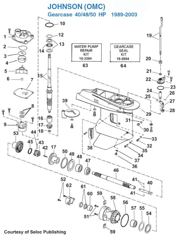 Johnson 40, 48, 50 HP Gearcase (1989-2003) Exploded View