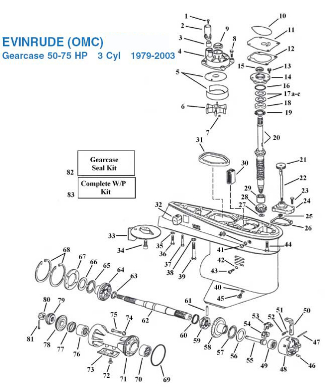 Evinrude 50-75 HP 3 Cylinder Gearcase (1979-2003) Exploded View