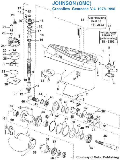Johnson V4 Gearcase (1978-98) Exploded View