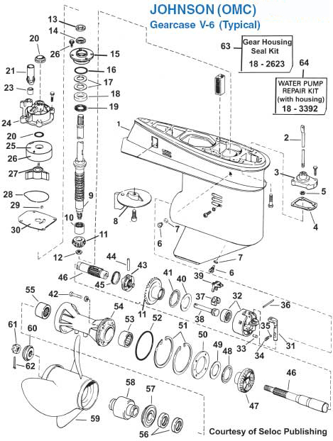 Johnson Typical V6 Gearcase Exploded View